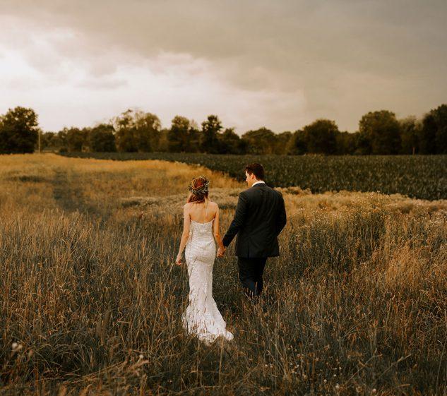 Couple outside in the fields