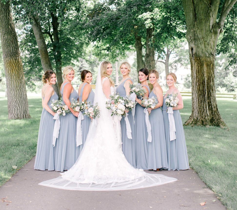 Bride with her bridesmaids in the Zingerman's Grove