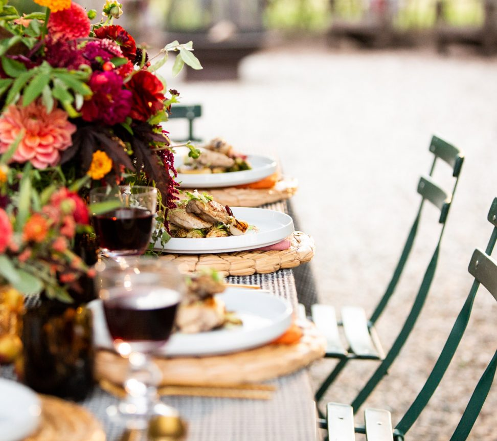 Plated food on beautiful decorated table