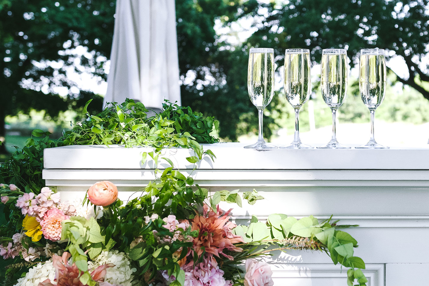 Champagne flutes outdoors