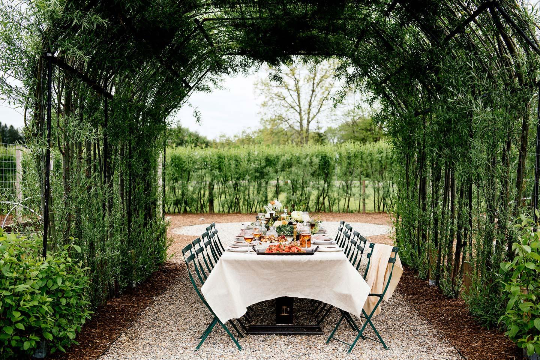 Seating arrangement in garden