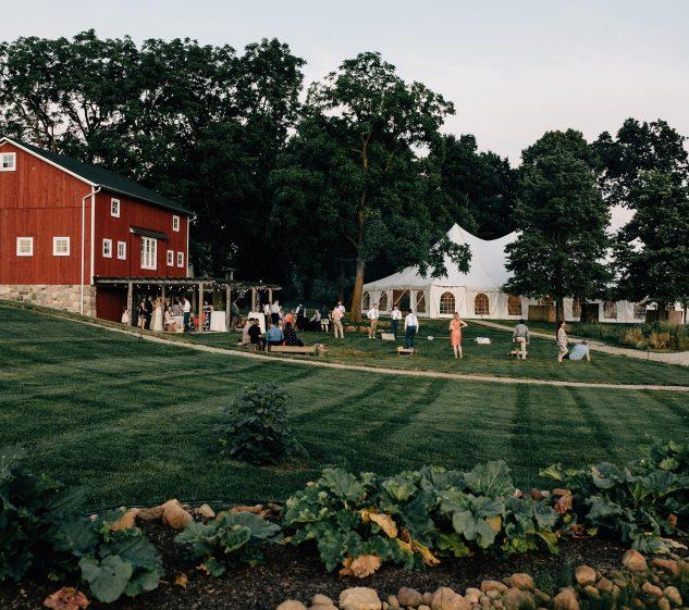Wedding ceremony red barn