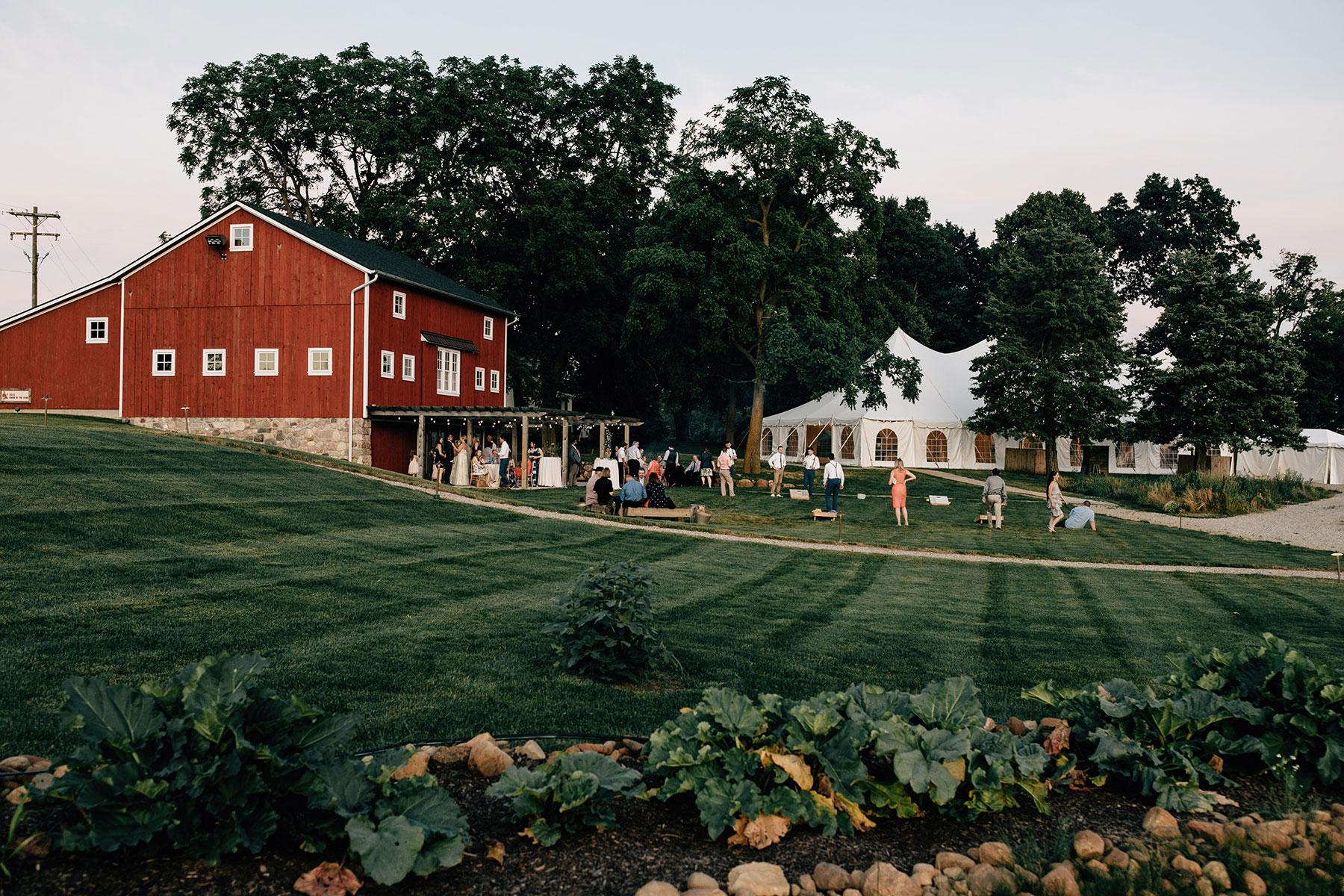 Wedding ceremony at red barn