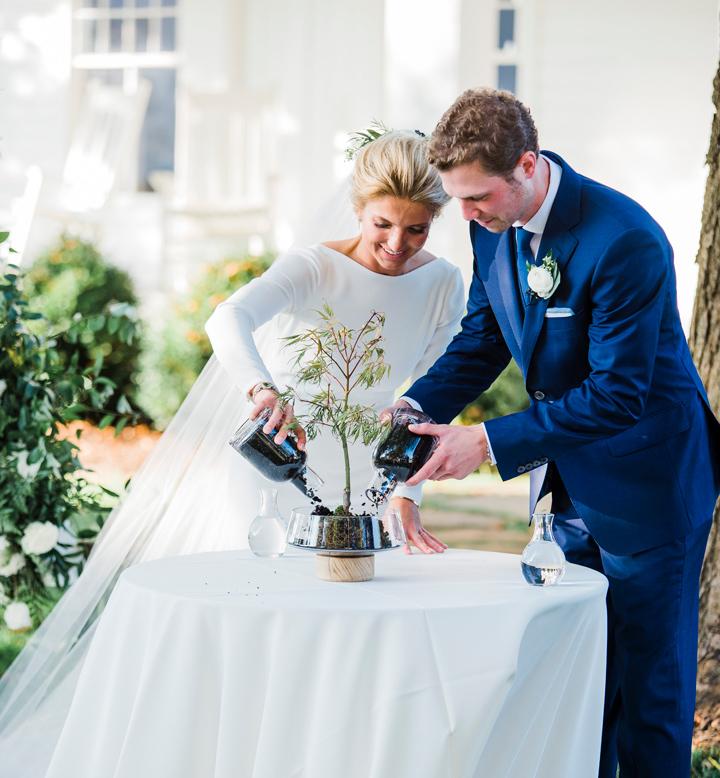 Bride and groom prepare their wedding tree