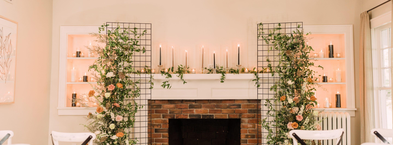 Ceremony set-up with secret garden decor