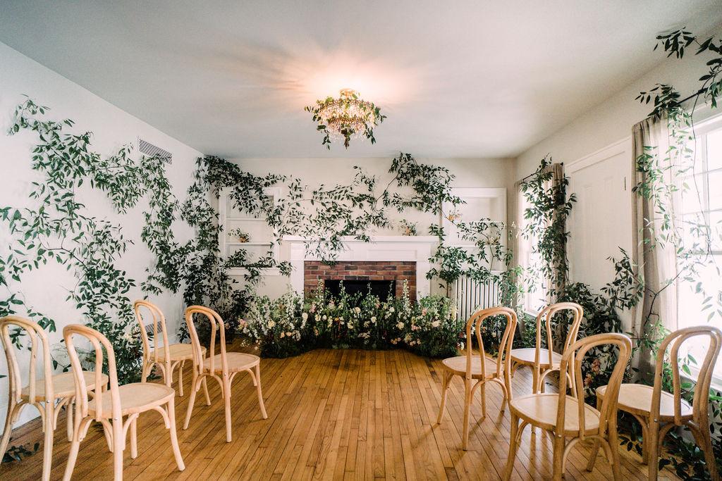 The Tiny Wedding Ceremony Set-Up with vines and secret garden design