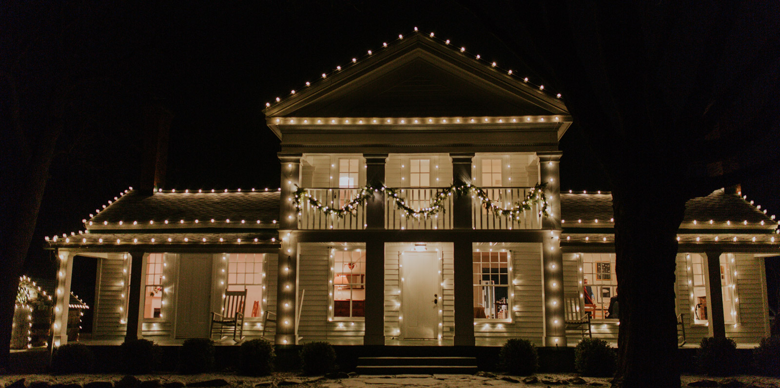 Exterior of the Zingerman's farmhouse at night