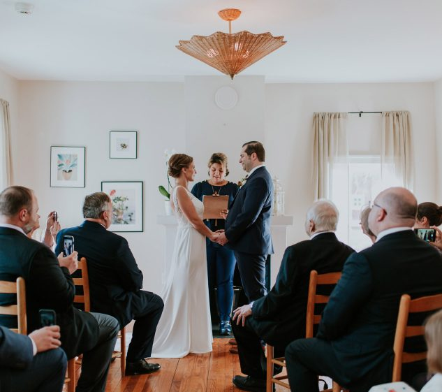 Wedding ceremony in farmhouse