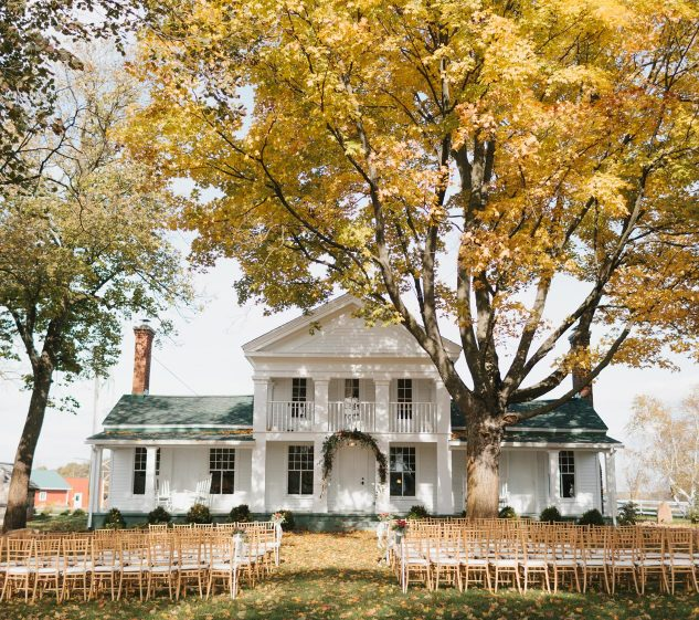 The farmhouse set up for a wedding
