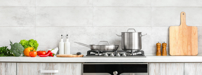 Kitchen counter with kitchen appliances