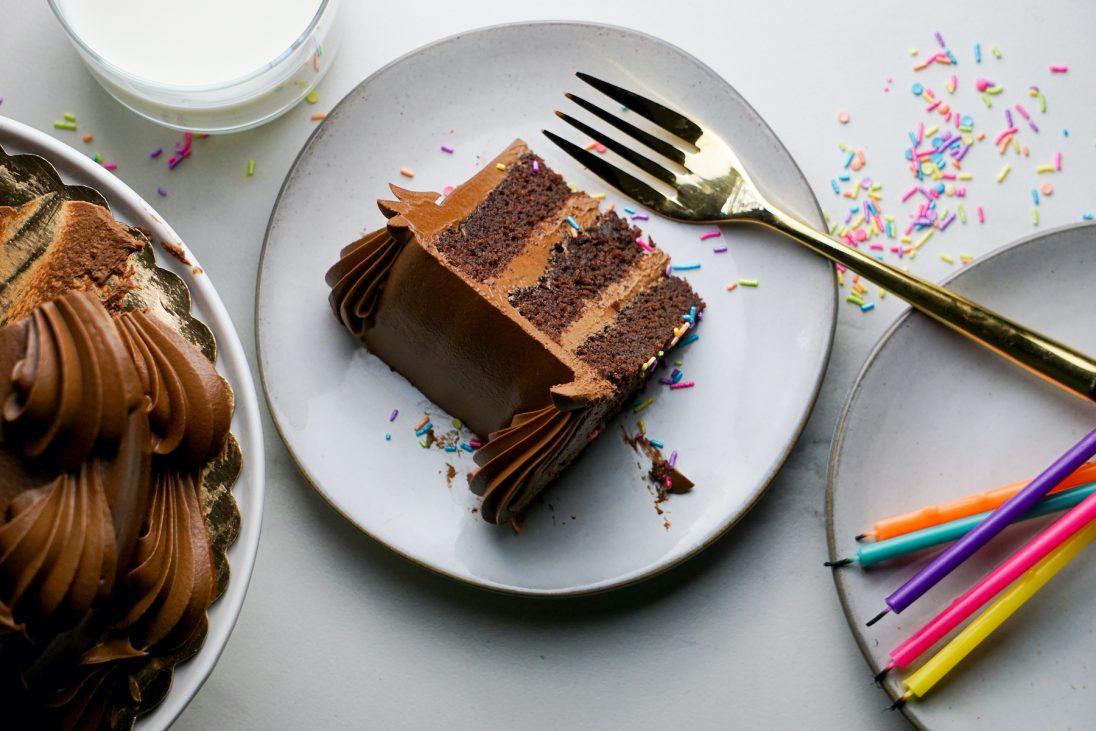 Chocolate cake slice on plate